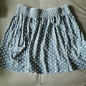Zara cotton polka dot skirt with pockets